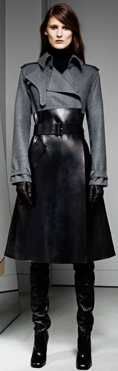 #Yves Saint Laurent coat with leather detail...dream coat. What ever army she's in I want to join. .♥♥♥♥