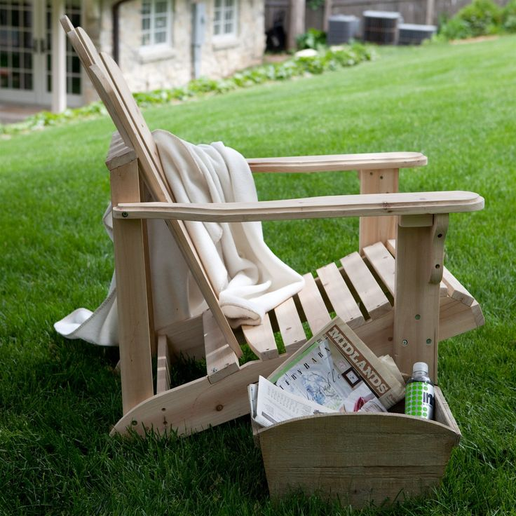 Unfinished Asian Fir Wood Adirondack Chair with Contoured Seat and Wide Armrests - Hearts Attic   - 1