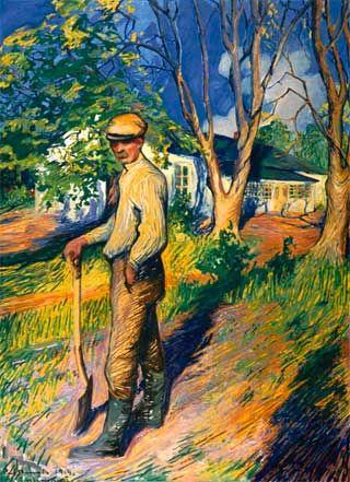 Carl Bengts (1876-1934) Oscar nojaa lapioon Sommarössä / Oscar leaning on a shovel in Sommarö 1914 - Finland
