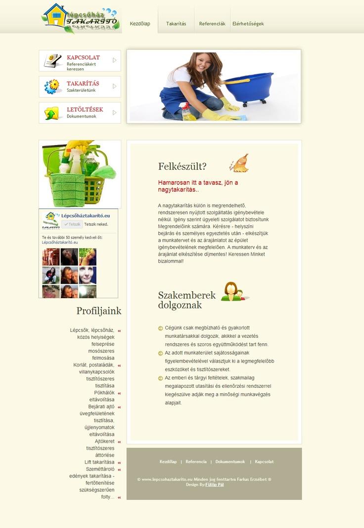 Lépcsőház Irodaház takarítás (busines cleaning website)  Budapesti vállalkozás kérésére készült enyhén dinamikus, barna pasztel színben honlap.