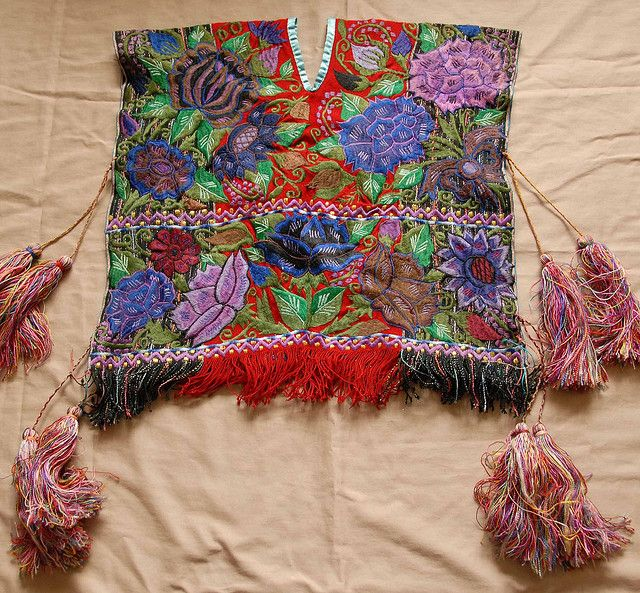 Zinacantan Poncho This beautifully embroidered boy's poncho comes from the Tzotzil Maya town of Zinacantan Chiapas Mexico,via flickr