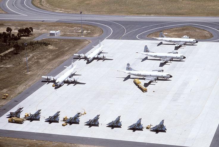 77 Squadron RAAF - Mirage IIIs - RNZAF P-3B, 10 Sqn RAAF P-3B, USN P-3Cs. RAAF Pearce 1983.