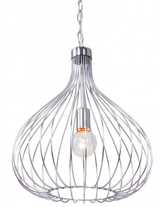 Trendy draadlamp Bronq Higgins chroom Ø40 cm