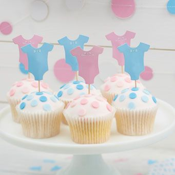 Cute and colourful cupcake toppers. Perfect for a baby shower or gender reveal party!