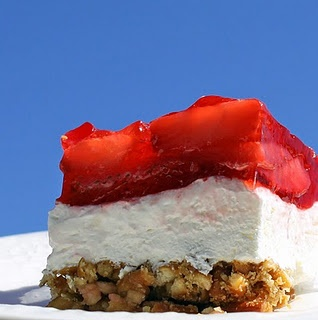Strawberry Pretzel Salad -- I have my Aunt Bobbie's recipe for this, and it's yummy!