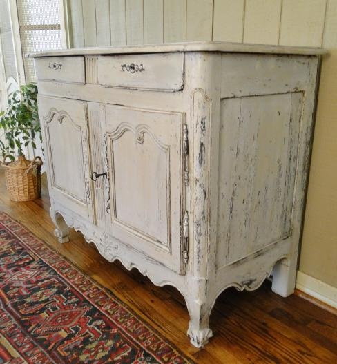 Antique French Country Buffet Server Sideboard Painted 1880s Carving