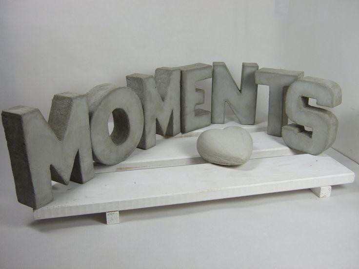 buchstaben schriftz ge moments buchstaben beton ein. Black Bedroom Furniture Sets. Home Design Ideas