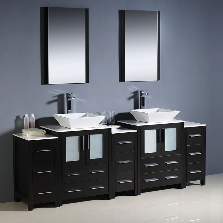 Pictures In Gallery Fresca Torino Espresso Modern Double Sink Bathroom Vanity w Side Cabinets u