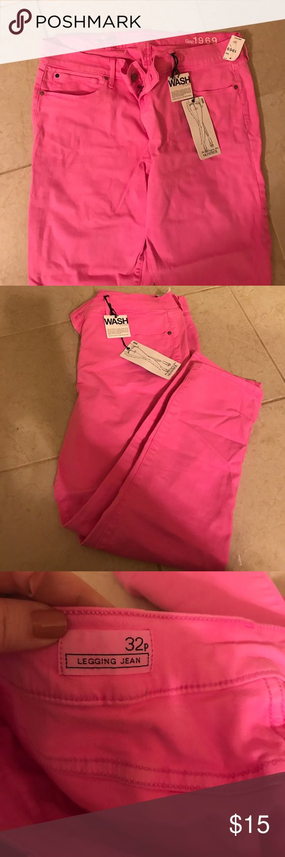 Gap Women's Pink Petite Legging Jean NWT 32P Gap bright pink petite capri legging jeans in size 32P. They are new with tags. Gap 1969. Perfect condition. Comes from a smoke free home. gap Pants Leggings