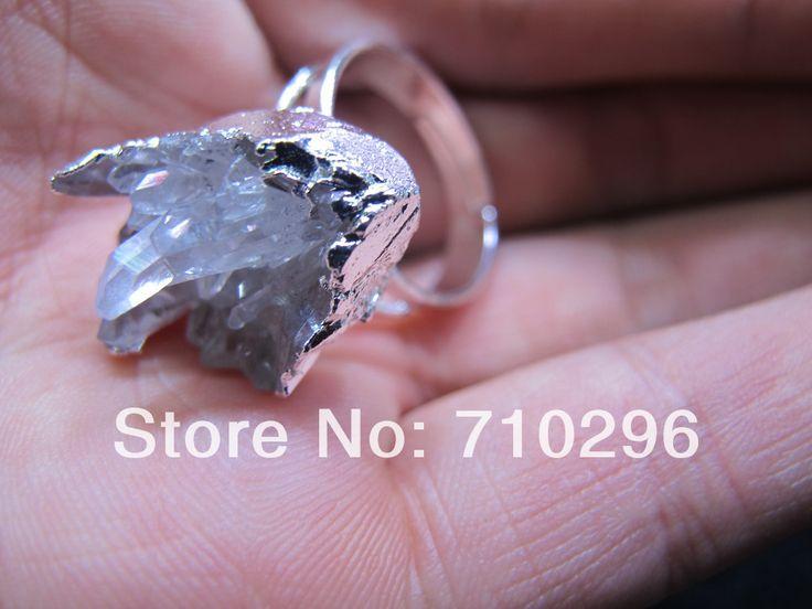 Новый прибыл 10 шт./лот Whtie Ясный Кварц Druzy Кольцо Природные Драгоценного камня Drusy Кольцо 10 шт./лот