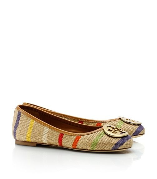 Tory Burch Striped Reva Ballet Flat ~ look at the texture of these flats,  oh I must get these :)