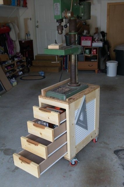 Drill Press Cart, maybe not a cart, but the drawers could be great.  But maybe just pull out drawers below the cabinet.