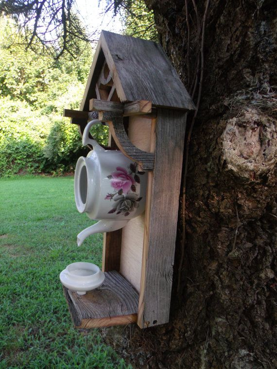 Rustic weathered teapot birdhouse. . COOL!