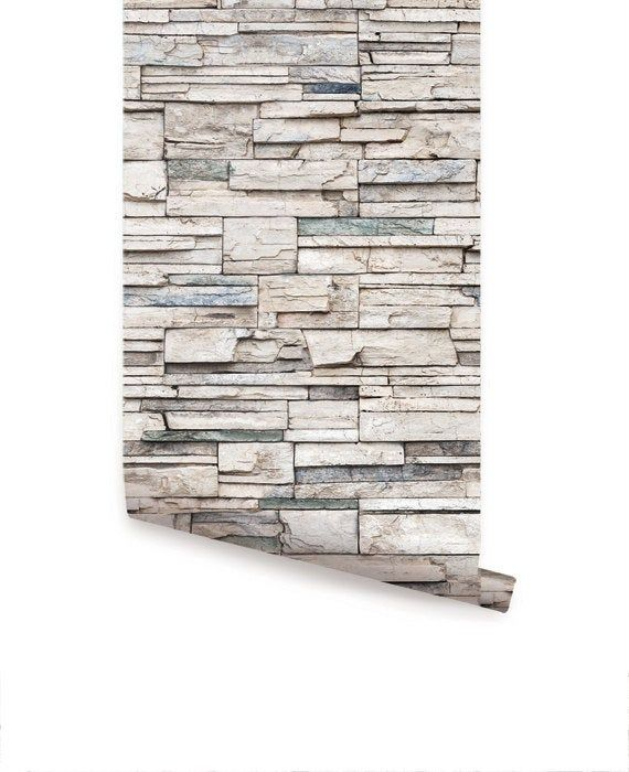 Faux Stone Peel Stick Fabric Wallpaper Get The Look Of Stacked Stone Cultured Stone Veneer Stone And Real Faux Stone Wallpaper Faux Stone Stone Wallpaper
