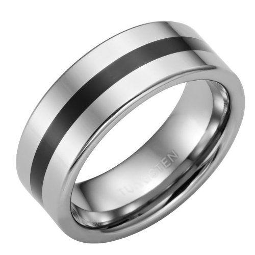 Amazon.com: Modern Art Tungsten Statement Stripe Mens Ring 8mm Band (Silver) (8): Jewelry