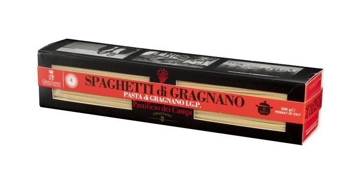 SPAGHETTI DI GRAGNANO PGI - PASTIFICIO DEI CAMPI  Spaghetti are perhaps the most famous shape and a staple of the Neapolitan cuisine.  Gragnano pasta extruded through bronze PGI 100% Made in Italy  Ingredients: durum wheat semolina and water (contains gluten)  Features: pasta extruded through bronze