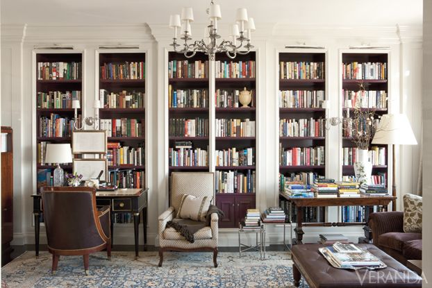 Fifth Avenue Apartment - Thomas O'Brien. Beautiful built in library cabinets white trim wood interior