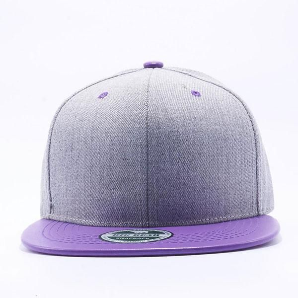 Big Bear Heather Grey Leather Snapback Hats Wholesale [H.Grey/Purple]