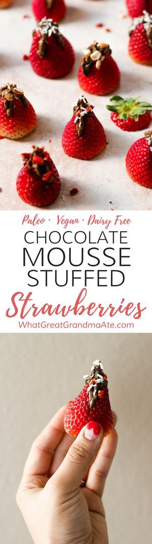 #Paleo and #Vegan Chocolate Mousse Stuffed Strawberries are the most adorable Valentine's Day dessert! #glutenfree #dairyfree via @whatggmaate