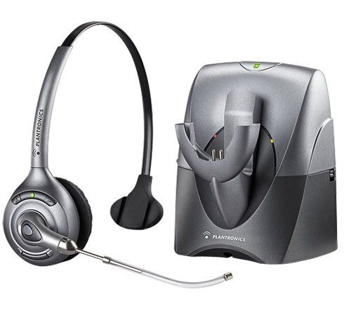 Plantronics CS351 SupraPlus Wireless Headset System. Interference-free calls up to 300 feet away from deskphone. Premium Features, Comfortable Design. Light, over-the-head design for all day comfort. Ten hours talk time without recharge. Online indicator light.