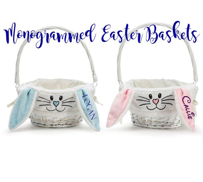 Easter Basket, Monogrammed Easter Basket, Personalized Easter Basket, Kids Easter Basket, Bunny Ears Basket, Bunny Ears Easter Basket- EB01 by MBWCustomEmbroidery on Etsy