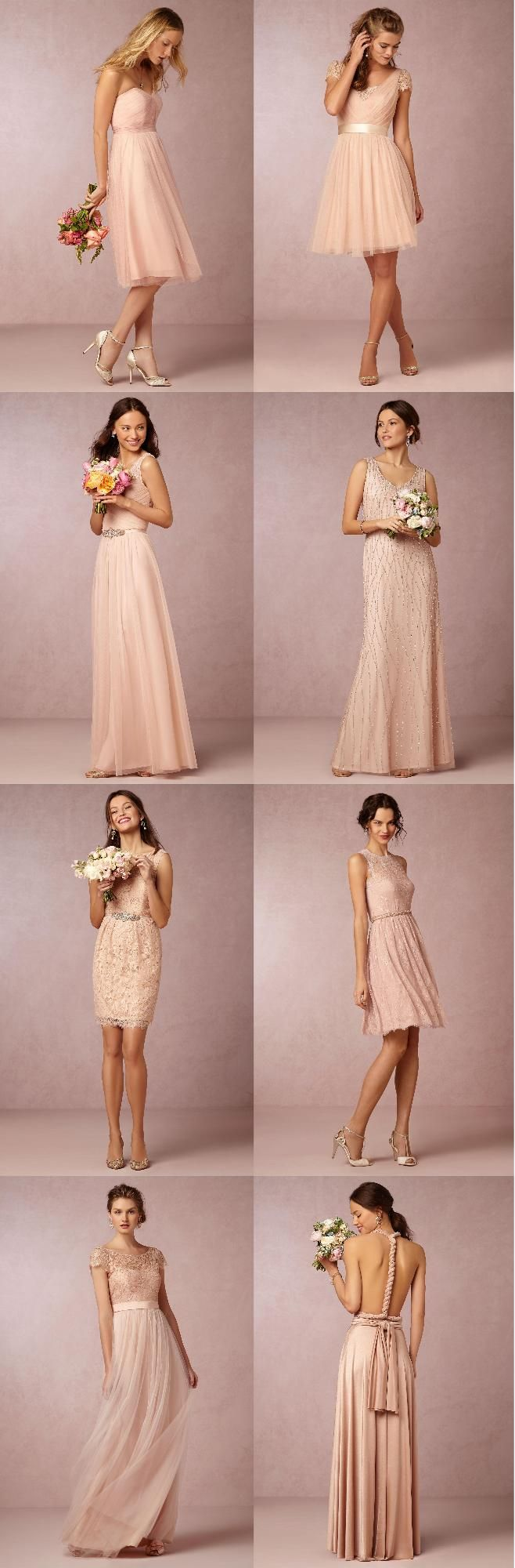 Collection of Light Pink Bridesmaids Dresses from BHLDN