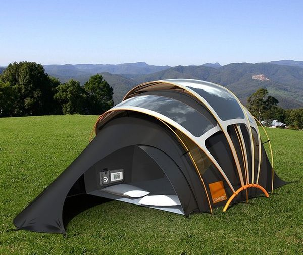 Design for a nomadic life Solar Tent for high-tech campers Futuristic concept tent can harness solar energy to provide electricity to portable gadgets.