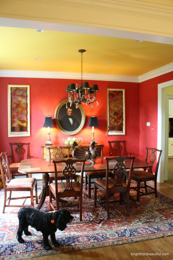 Sophisticated dining room colors    Anne Brasfield Home Tour   Bohemian/Tribal/Ethnic Style   brightboldbeautiful.com