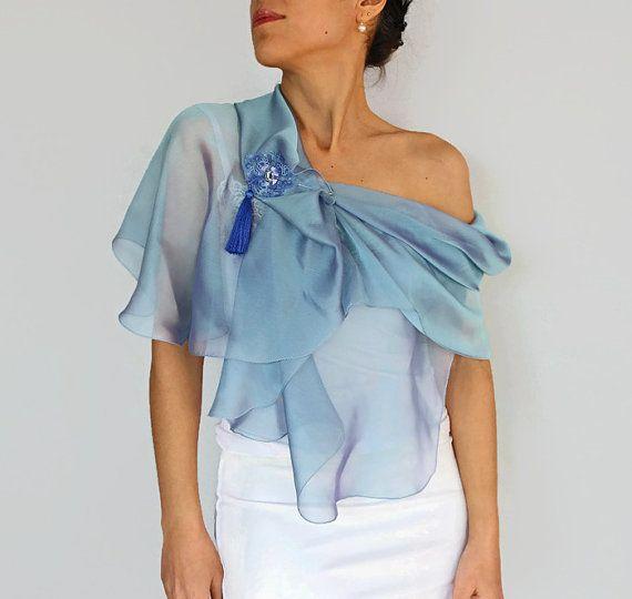 Blue Scarf, Iridescent Silk Chiffon Wrap, Shoulder Stole and Tatting Lace Brooch Pin, Handmade