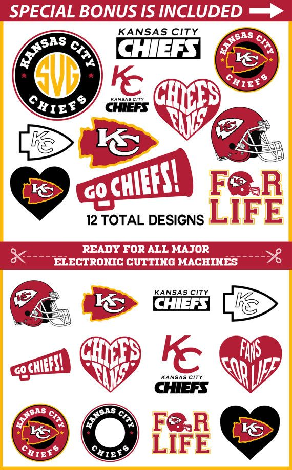 Kansas City Chiefs SVG Cut Files for Cricut, Kansas City Svg, Chiefs Svg, NFL Chiefs Svg, Chiefs logo Clip art for Silhouette Cameo Vinyl