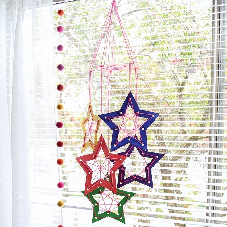 Cardboard Weaving Stars Mobile - CleverPatch