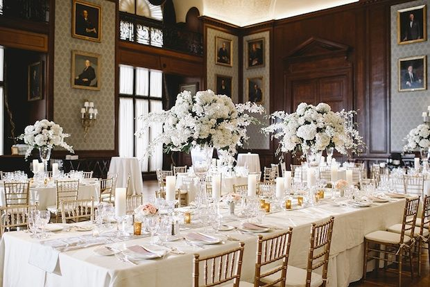 Tall White Ivory Hydrangea Orchid Centerpieces And Crystal Pillar