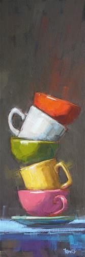 "Stack with Pink Cup by Cathleen Rehfeld, oil painting, 18"" x 6"""