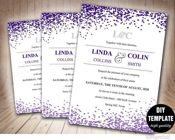 Creative Wedding Invitation TemplateConfetti Wedding by paperfull