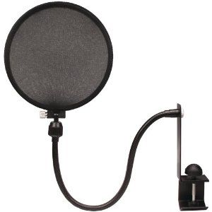 Nady MPF-6 6-Inch Clamp On Microphone Pop Filter --- http://www.amazon.com/Nady-MPF-6-6-Inch-Microphone-Filter/dp/B0002CZW0Y/?tag=mywelost0e-20