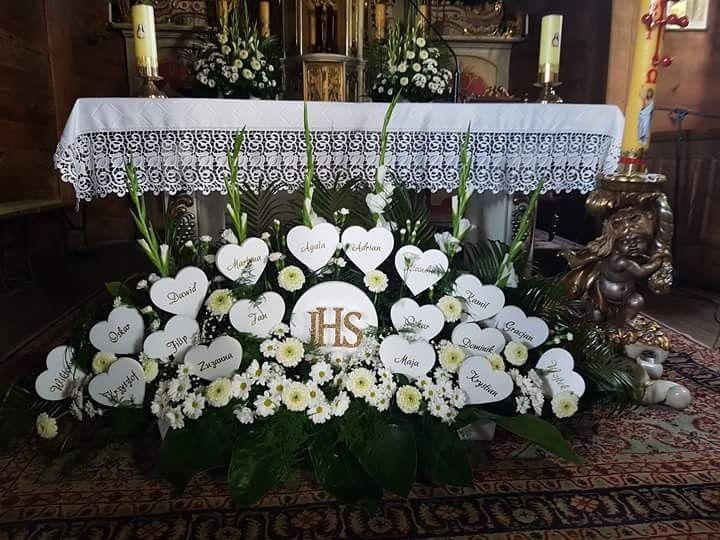 Komunia Swieta Karoliny Church Altar Decorations Church Decor Communion Decorations