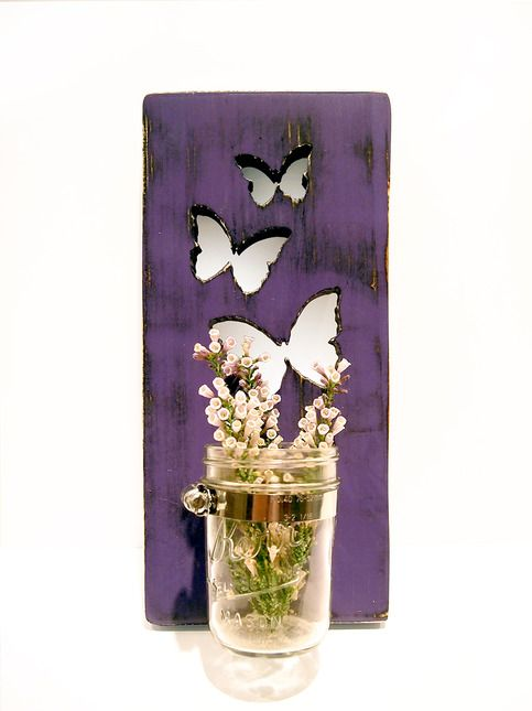 Mason Jar Vase/Candle holder Butterflies in Purple Pine Wood Sign Wall Decor Rustic Americana Cottage Chic