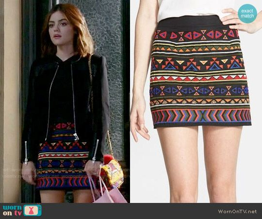 Aria's geometric patterned skirt on Pretty Little Liars.  Outfit Details: https://wornontv.net/69903/ #PLL