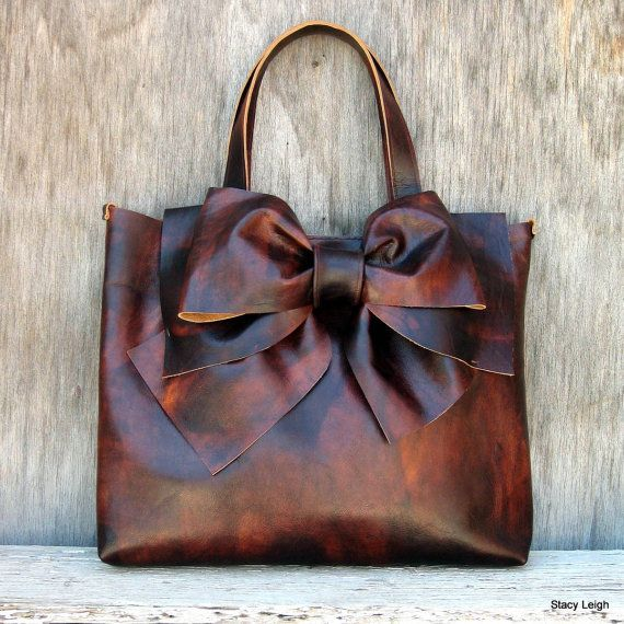 Leather Bow Tote in Vintage Patina Leather by Stacy Leigh Made to Order