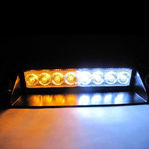 Jackey Awesome 8-LED Warning Caution Van Truck Emergency Strobe Light Lamp Bar (Amber & White) #Jackey #Awesome #Warning #Caution #Truck #Emergency #Strobe #Light #Lamp #(Amber #White)