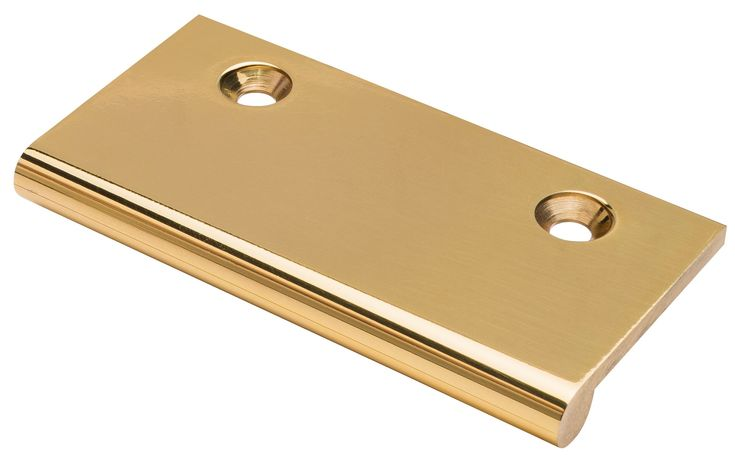 EDGE PULL brass finish.  Solid Brass edge pulls for use on drawers and various door types. Simple modern design that will compliment any style of furniture. Ref. 0012 suitable for 18mm thick profiles, Ref. 0039 suitable for 44mm+ thick profiles.  Various finishes including standard and PVD.