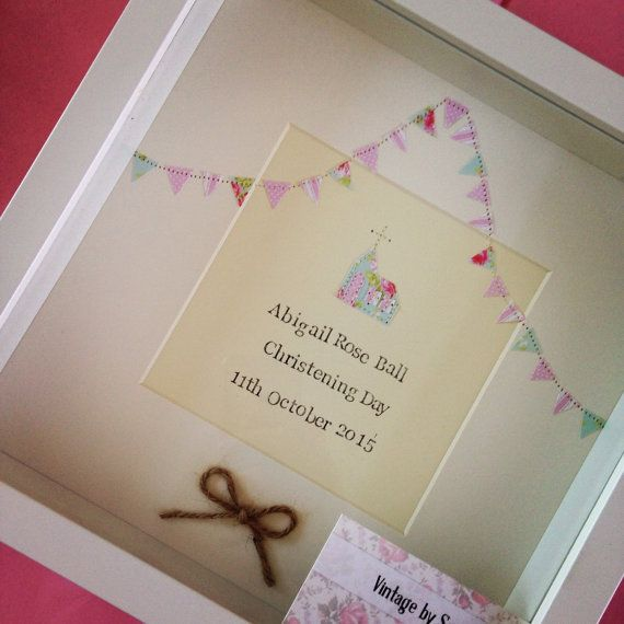 Personalised Christening gift/keepsake. Frame measures 23x23x4.5 cm. Hand Stamped wording with childs name and the date of the Christening. Please send across the exact wording you would like and the colour scheme. The print will have a rustic look as when hand stamped the text will not be in a perfect straight line. Please allow 1 week for picture to be made, before posting. To see more examples of my work take a look at my Facebook page - www.facebook.com/vintagebysarah