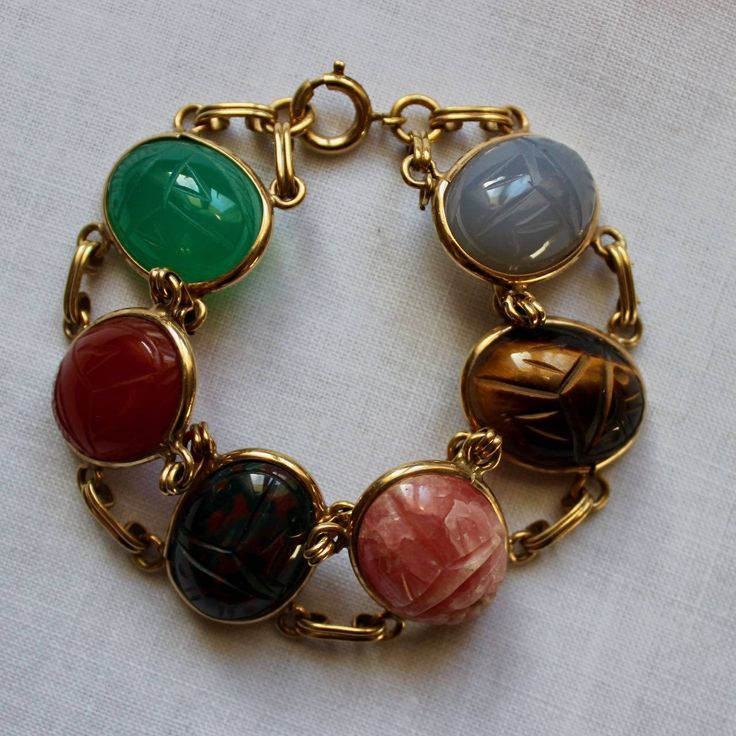 Vintage Scarab Bracelet Large Authentic Genuine Stones Semi Precious Gold Tone Art Deco Egyptian by KerryCan on Etsy