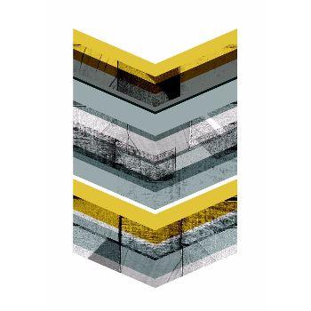 Francesca Iannaccone Yellow Chevron A2 Framed Print: Bold graphic geometric print. Featuring flashes of vibrant yellow and grey. By Francesca Iannaccone.