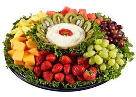 Fruit tray...love the kiwis surrounding the dip