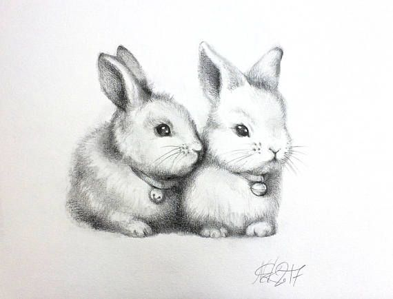 ORIGINAL cute bunnys pencil drawing, rabbit couple sketch, lapin, animal Illustration, nursery wall art, nursery decor, gift, home decor