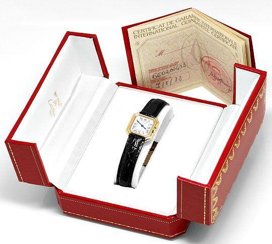 Foto 8, Cartier Ceinture 18K Gelbgold Krokodil-Armband Damenuhr, U2110