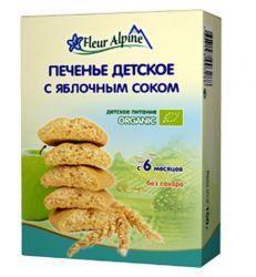 Флер альпин печенье органик с яблочным соком с 6 мес. 150г  — 188р.  Печенье «С яблочным соком» рекомендуется детям с 6 месяцев    Состав  цельнозерновая пшеничная мука*, рисовая мука*, концентрат яблочного сока* 32%, негидрогенизированные растительные масла* (пальмовое, подсолнечное), молоко сухое обезжиренное*, разрыхлители (гидрокарбонат аммония, гидрокарбонат натрия), натуральный экстракт ванили*, витамин В1, токоферол (антиоксидант)   *органическое сельское хозяйство    Особенности…