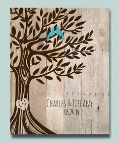 11''x14'' Custom Poster Engagement gift,  Wedding Gift Love Birds Tree, Anniversary Gift for Couples on Etsy, $28.00