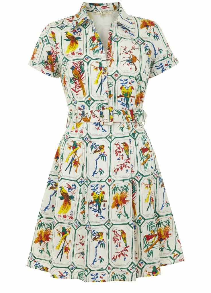 Tropical Bird Print Shirt Dress